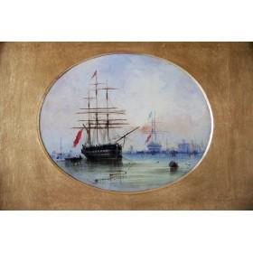Старинная английская картина 19 века художника Кнелла Корабли
