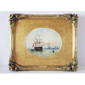 Старинная английская картина 19 века художника Кнелла Корабли купить в подарок
