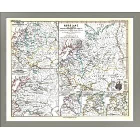 Антикварная научно-историческая карта России в период с 1240 по 1480 год.