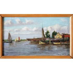 Старинная английская живопись в подарок, английский пейзаж 19 века купить