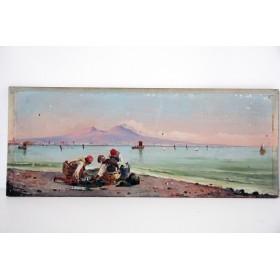 Антикварная парная английская живопись, вид на неаполитанский залив