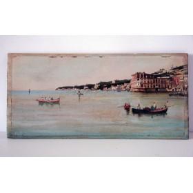 Старинная парная английская картина, вид на неаполитанский залив