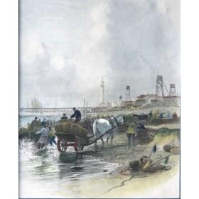 Прибрежная жанровая сцена английский пейзаж, старинная гравюра в подарок