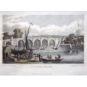 Мост города Кингстон, старинный английский пейзаж, гравюра в подарок
