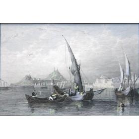 Романтичный морской восточный пейзаж на английской гравюре 19 века