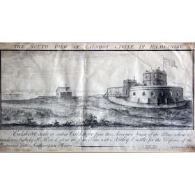 Вид на замок Кэлшот в графстве Хэмшир на английской гравюре 1733 года