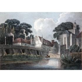 Романтичный вид на мост города Майденхед на английской гравюре 19 века в подарок