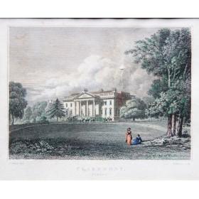 Романтичный вид на дворец в Кларемонте в английской гравюре 19 века в подарок