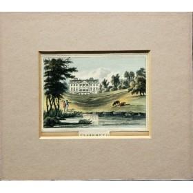 Вид на дворец Кларемонте в английской гравюре 19 века в подарок
