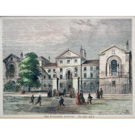 Вид на госпиталь в графстве Сассекс в английской гравюре 19 века в подарок