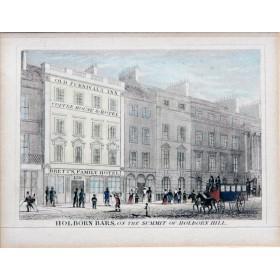 Вид на гостиницу города Холборн в английской гравюре 19 века