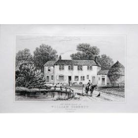 Вид на дом где родился Уильям Коббет в городе Фарнхам графство Суррей в английской гравюре 19 века