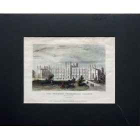 Вид на колледж Уислиан в Ричмонде графство Суррей в английской гравюре 19 века