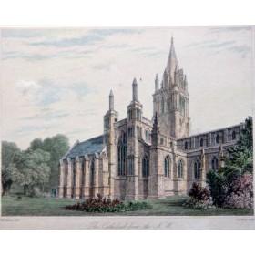 Антикварная гравюра с видом на церковь в северо-западной Англии 19 век