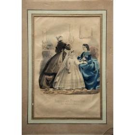 "Антикварная гравюра для журнала ""Journal des Demoiselles"" Англия 19 век"