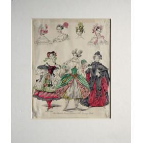 Антикварная гравюра c изображением женских национальных костюмов.The loot&Newest Fashions. Англия 19 век.