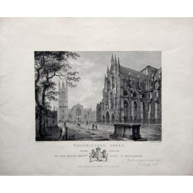 Вид на Вестминстерское аббатство в английской гравюре 19 века.