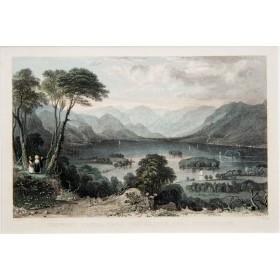 Антикварная гравюра с видом на озеро Деруэнт (Derwentwater) в графстве Камбрия. Англия 19 век.