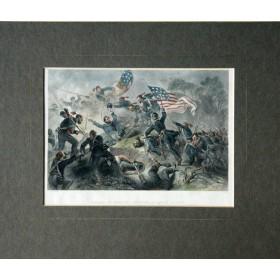 Антикварная гравюра с изображением битвы при Роанок-Айленд. Англия 19 век.