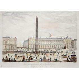 Перспективный вид на Обелиск на площади Согласия в Париже, изображенный на английской гравюре 19 века.