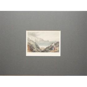 Живописный вид на залив Алум в английской гравюре 19 века.