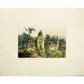 Романтичный вид на аббатство в английской гравюре 19 века