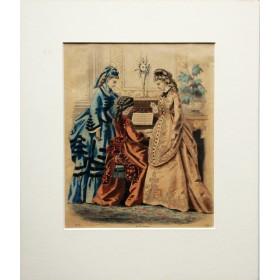 Антикварная гравюра для дамского журнала Англия 19 век
