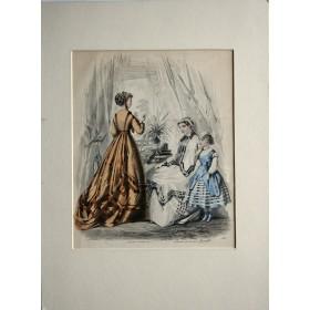 Антикварная гравюра для каталога женской одежды Англия 19 век