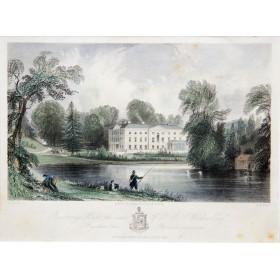 Живописный вид на имение Bustridge hall в английской гравюре 19 века