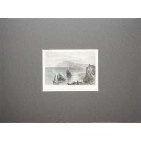 Живописный вид на Freshwater bay в английской гравюре 19 века