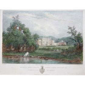 Антикварная английская гравюра 19 века с видом на аббатство Уэверли.