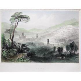Антикварная английская гравюра 19 века с видом на город Бат,юго-запад Англии.