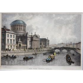 Антикварная английская гравюра 19 века с видом на здание четырех судов в Дублине