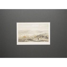 Вид на лагерь морского отряда перед Севастополем в английской антикварной литографии 19 века.