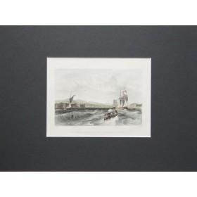 Вид на Форт Джордж в заливе Мори-Ферт в английской антикварной гравюре 19 века.