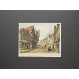Вид на улицу Фриар города Вустер в английской гравюре 19 века