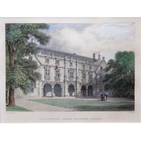 Антикварная английская гравюра 19 века с видом на библиотеку Пеписа, колледж Магдалины