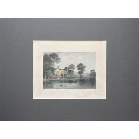 Живописный пейзаж аббатства Медменхам графство Бэкингемшир в английской гравюре 19 века