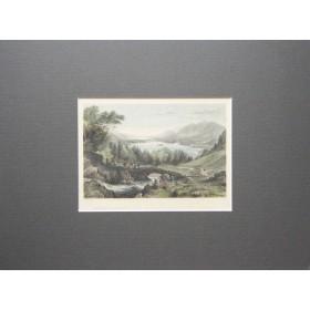 Английская антикварная гравюра 19 века с изображением озера Деруент в Камбрии