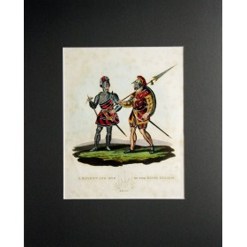 Английская антикварная гравюра 19 века с изображением рыцаря и одного из королевских стражников