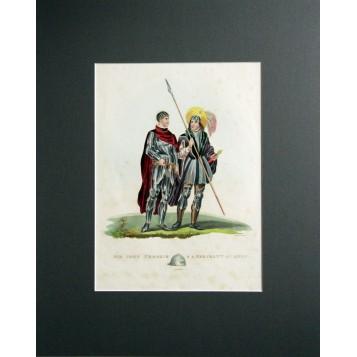 Английская антикварная гравюра 19 века с изображением сира Джона Кросби и сержанта армии