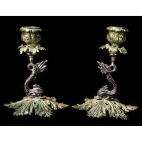 Антикварные бронзовые подсвечники Долфин Dolfin стиль РОКОКО