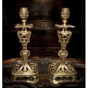 Старинная пара ритуальных масонских свечников XIX века