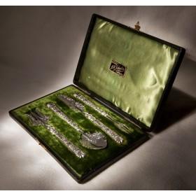 Купить старинное серебро десертный Викторианский набор в подарок