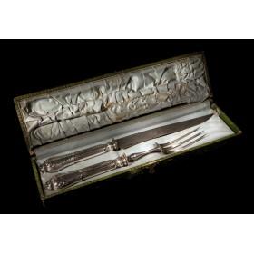 Старинное столовое серебро Набор для мяса