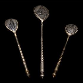 Подарочный набор из трех ложек антикварного черненого серебра Русские соборы