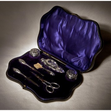 Маникюрный набор антикварного английского серебра W.J.Myatt&Co