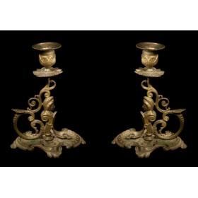 Купить парные бронзовые свечники Франция 19 века в подарок