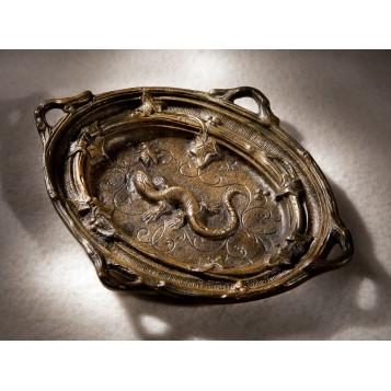 Антикварная бронзовая пепельница Ящерица