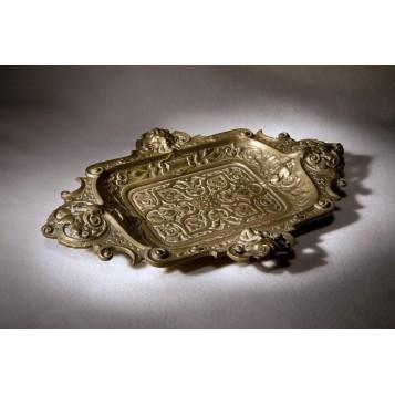 Старинный бронзовый поднос для писем и мелочей